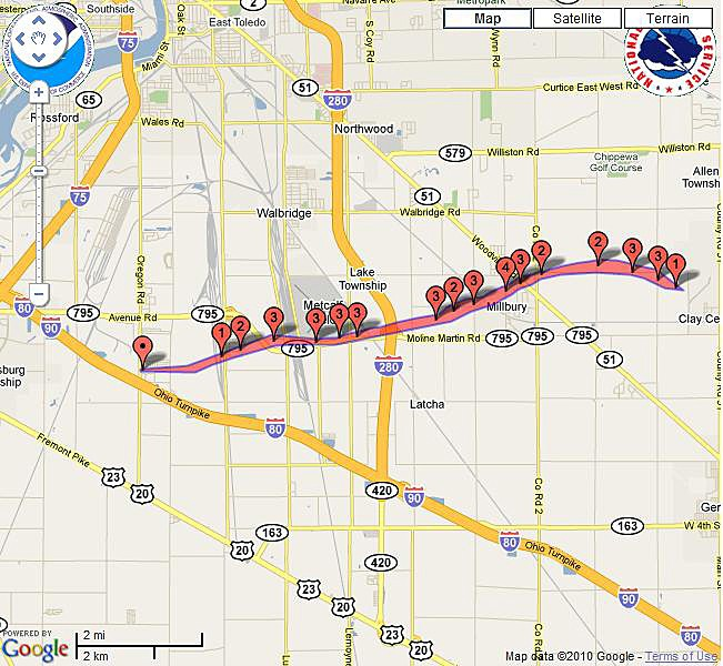 The map shows the path of the tornado.